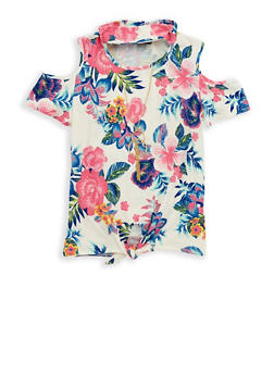 Girls 4-6x Floral Tie Front Top with Necklace - 1634051060003