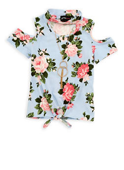 Girls 4-6x Floral Tie Front Top with Necklace - 1634051060004