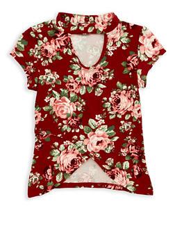 Girls 4-6x Rose Print Tulip Hem Top - 1634051060005