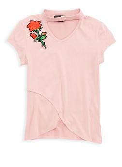 Girls 4-6x Soft Knit Rose Patch Top - 1634051060006