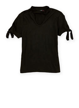 Girls 4-6x Soft Knit Tie Sleeve Top - 1634051060007