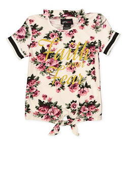 Girls 4-6x Floral Glitter Faith Graphic Tee - 1634051060017