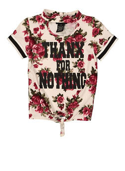Girls 4-6x Thanx For Nothing Tie Front Tee - 1634051060019