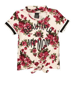 Girls 4-6x Beautiful Like My Mom Floral Tee - 1634051060020