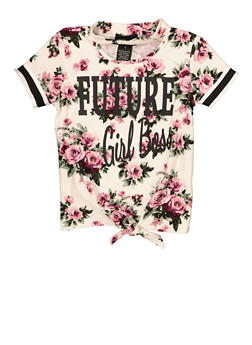 Girls 4-6x Future Girl Boss Tie Front Tee - 1634051060022