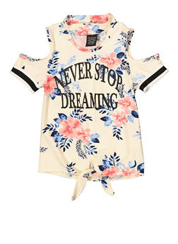 Girls 4-6x Never Stop Dreaming Cold Shoulder Top - 1634051060024