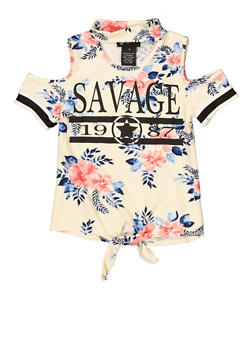 Girls 4-6x Savage Floral Cold Shoulder Top - 1634051060025