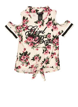 Girls 4-6x Girl Boss Floral Cold Shoulder Top - 1634051060026