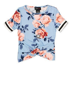 Girls 4-6x Floral Striped Tape Tee with Necklace - 1634051060027