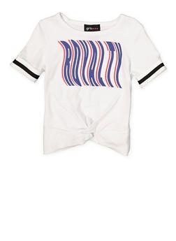 Girls 4-6x Royalty Striped Elastic Cuff Tee - 1634051060029