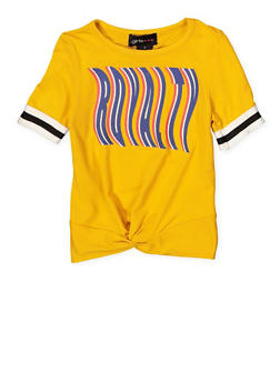 Girls 4-6x Royalty Striped Elastic Cuff Tee - 1634051060029