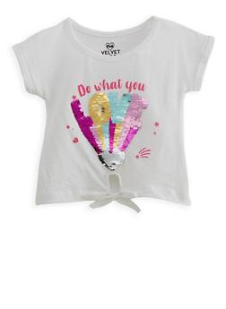 Girls 2T-6x Reversible Sequin Graphic Tie Front Tee - 1634063370001