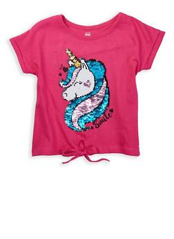 Girls 4-6x Reversible Sequin Graphic Tie Front Tee - 1634063370001