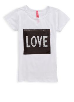 Girls 4-6x Love Sequin Graphic T Shirt - 1634066590163