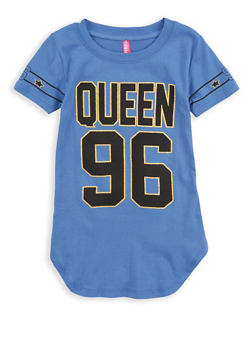 Girls 4-6x Queen Glitter Graphic Tunic T Shirt - 1634066590174