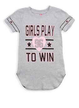Girls 4-6x Girls Win Graphic Tunic T Shirt - 1634066590176