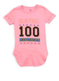 Girls 4-6x Glitter Graphic Tunic T Shirt - 1634066590178