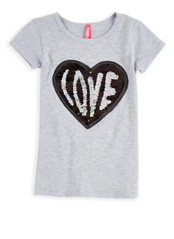 Girls 4-6x Reversible Sequin Heart Top - 1634066590187