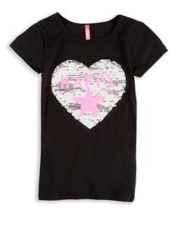 Girls 4-6x Reversible Sequin Graphic T Shirt - 1634066590188