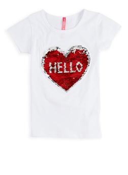 Girls 4-6x Reversible Heart Sequin T Shirt - 1634066590190