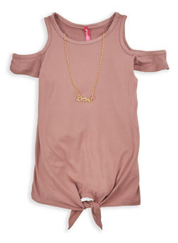 Girls 4-6x Soft Knit Cold Shoulder Top with Necklace - 1634066590200