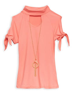Girls 4-6x Soft Knit Tie Sleeve Top with Necklace - 1634066590205