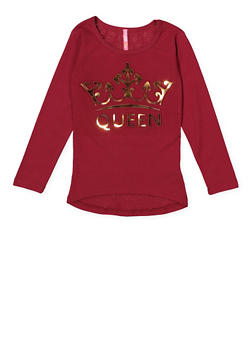Girls 4-6x 3D Queen Graphic Tee - 1634066590224