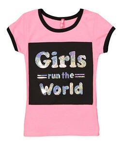 Girls 4-6x Girls Run the World 3D Foil Graphic Tee - 1634066590237