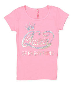 Girls 4-6x Queen of Everything 3D Foil Graphic Tee - 1634066590242