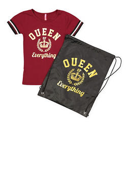 Girls 4-6x Queen of Everything Tee with Drawstring Backpack - 1634066590254