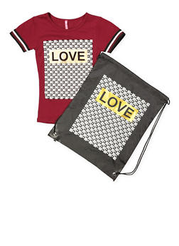 Girls 4-6x Love Graphic Tee and Drawstring Backpack - 1634066590256