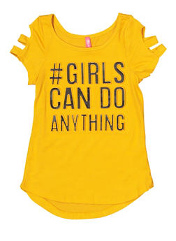 Girls 4-6x Girls Can Do Anything 3D Foil Tee - 1634066590260