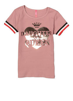 Girls 4-6x Daughter of a Queen Foil Graphic Tee - 1634066590263