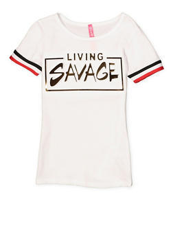 Girls 4-6x Living Savage 3D Foil Graphic Tee - 1634066590264