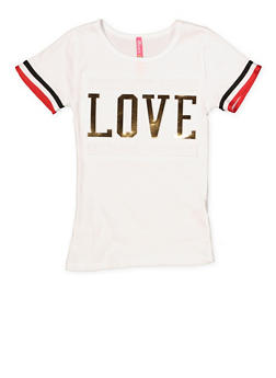 Girls 4-6x Love 3D Foil Graphic Tee - 1634066590268