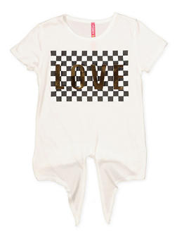 Girls 4-6x Love 3D Foil Checkered Tie Front Graphic Tee - 1634066590274