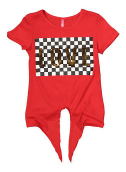 Girls 4-6x Love 3D Foil Checkered Graphic Tee - 1634066590274