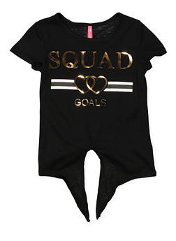 Girls 4-6x 3D Squad Goals Tie Front Foil Graphic Tee - 1634066590277