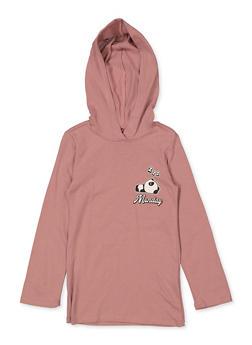 Girls 4-6x Panda Mood Hooded Top - 1634066590332