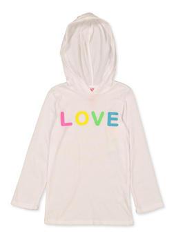 Girls 4-6x Hooded Love Tee - 1634066590333