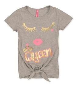 Girls 4-6x Queen Tie Front Tee - 1634066590336