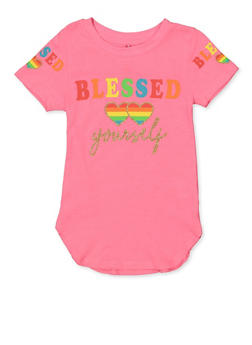 Girls 4-6x Blessed Yourself Glitter Graphic Tee - 1634066590339