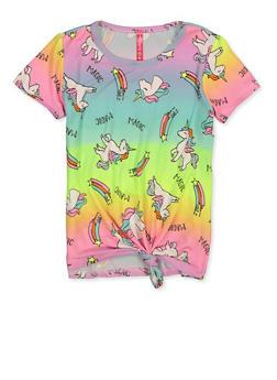Girls 4-6x Unicorn Magic Ombre Tee - 1634066590354