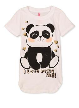 Girls 4-6x I Love Being Me Panda Tee - 1634066590363