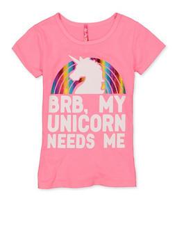 Girls 4-6x BRB My Unicorn Needs Me Tee - 1634066590366