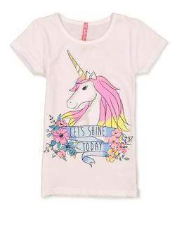 Girls 4-6x Lets Shine Today Unicorn Tee - 1634066590367