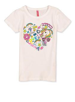Girls 4-6x Unicorn Heart Tee - 1634066590373