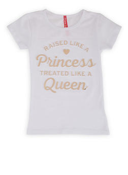 Girls 4-6x Raised Like A Princess 3D Foil Graphic Tee - 1634066590389