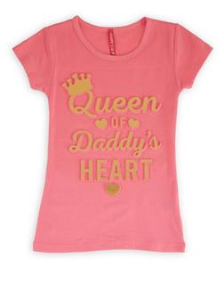 Girls 4-6x 3D Foil Queen of Daddys Heart Tee - 1634066590390