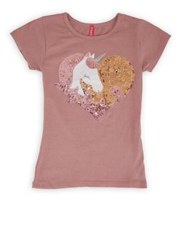 Girls 4-6x Sequin Unicorn Heart Tee - 1634066590391